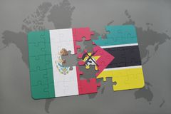 Puzzle with the national flag of mexico and mozambique on a world map background. Stock Images