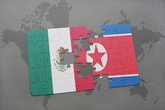 Puzzle with the national flag of mexico and north korea on a world map background. 3D illustration royalty free stock images