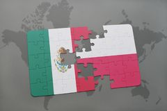 Puzzle with the national flag of mexico and poland on a world map background. 3D illustration stock photography