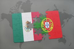 Puzzle with the national flag of mexico and portugal on a world map background. 3D illustration Stock Photo