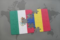 Puzzle with the national flag of mexico and romania on a world map background. 3D illustration Royalty Free Stock Photography