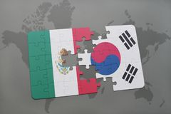 Puzzle with the national flag of mexico and south korea on a world map background. 3D illustration royalty free stock images
