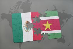 Puzzle with the national flag of mexico and suriname on a world map background. 3D illustration Royalty Free Stock Image