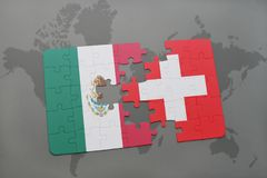 Puzzle with the national flag of mexico and switzerland on a world map background. 3D illustration Stock Image