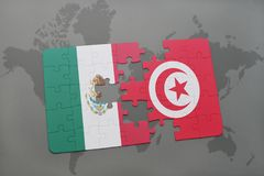 Puzzle with the national flag of mexico and tunisia on a world map background. 3D illustration Royalty Free Stock Photo