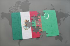 Puzzle with the national flag of mexico and turkmenistan on a world map background. 3D illustration Stock Image