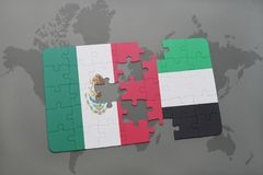 Puzzle with the national flag of mexico and united arab emirates on a world map background. 3D illustration Stock Photos