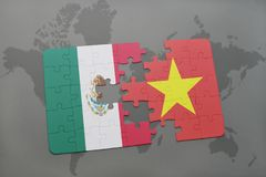 Puzzle with the national flag of mexico and vietnam on a world map background. 3D illustration royalty free stock image