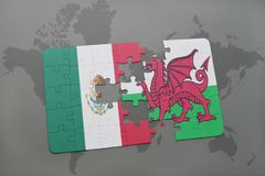 Puzzle with the national flag of mexico and wales on a world map background. 3D illustration Royalty Free Stock Image