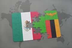 Puzzle with the national flag of mexico and zambia on a world map background. 3D illustration Royalty Free Stock Photos