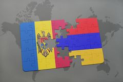 Puzzle with the national flag of moldova and armenia on a world map background. Stock Photography