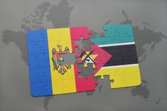 Puzzle with the national flag of moldova and mozambique on a world map. Background. 3D illustration Stock Image