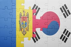 Puzzle with the national flag of moldova and south korea. Concept stock image