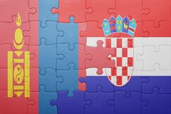 puzzle with the national flag of mongolia and croatia Royalty Free Stock Photo