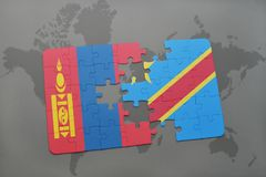 Puzzle with the national flag of mongolia and democratic republic of the congo on a world map Royalty Free Stock Photography