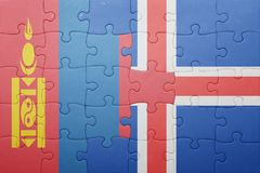 puzzle with the national flag of mongolia and iceland Royalty Free Stock Images