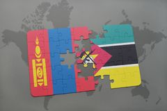 Puzzle with the national flag of mongolia and mozambique on a world map. Background. 3D illustration Stock Photo