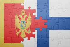Puzzle with the national flag of montenegro and finland Stock Image