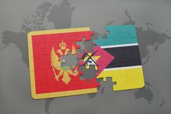 Puzzle with the national flag of montenegro and mozambique on a world map. Background. 3D illustration Stock Images