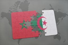 Puzzle with the national flag of morocco and algeria on a world map. Background. 3D illustration stock image