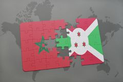 Puzzle with the national flag of morocco and burundi on a world map. Background. 3D illustration stock photo
