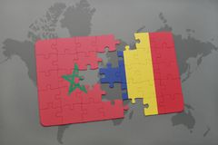 Puzzle with the national flag of morocco and chad on a world map. Background. 3D illustration stock photography