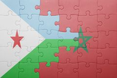 Puzzle with the national flag of morocco and djibouti . Stock Image