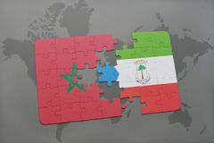 Puzzle with the national flag of morocco and equatorial guinea on a world map. Background. 3D illustration royalty free stock images