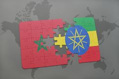 Puzzle with the national flag of morocco and ethiopia on a world map. Background. 3D illustration stock photo