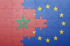 Puzzle with the national flag of morocco and european union Stock Photography
