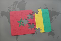 Puzzle with the national flag of morocco and guinea on a world map. Background. 3D illustration stock photo