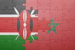 Puzzle with the national flag of morocco and kenya . Concept stock photo