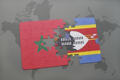 Puzzle with the national flag of morocco and swaziland on a world map. Background. 3D illustration stock photography