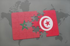 Puzzle with the national flag of morocco and tunisia on a world map. Background. 3D illustration royalty free stock images
