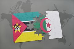 Puzzle with the national flag of mozambique and algeria on a world map. Background. 3D illustration Royalty Free Stock Images