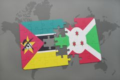 Puzzle with the national flag of mozambique and burundi on a world map. Background. 3D illustration Royalty Free Stock Images