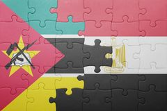 Puzzle with the national flag of mozambique and egypt. Stock Image
