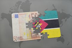 Puzzle with the national flag of mozambique and euro banknote on a world map background. 3D illustration Stock Images