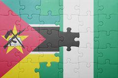 Puzzle with the national flag of mozambique and nigeria Royalty Free Stock Image