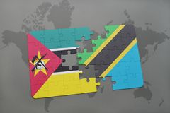 Puzzle with the national flag of mozambique and tanzania on a world map Royalty Free Stock Photography
