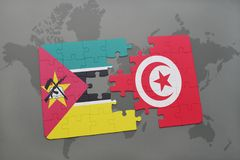 Puzzle with the national flag of mozambique and tunisia on a world map. Background. 3D illustration Stock Photo