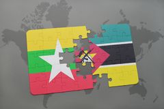 Puzzle with the national flag of myanmar and mozambique on a world map. Background. 3D illustration Stock Photo