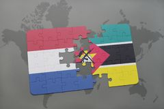 Puzzle with the national flag of netherlands and mozambique on a world map background. 3D illustration Royalty Free Stock Image