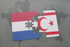 Puzzle with the national flag of netherlands and northern cyprus on a world map background. 3D illustration Royalty Free Stock Photo