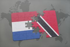 Puzzle with the national flag of netherlands and trinidad and tobago on a world map background. 3D illustration Stock Photography