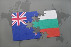 Puzzle with the national flag of new zealand and bulgaria on a world map background. 3D illustration Royalty Free Stock Images