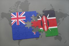 Puzzle with the national flag of new zealand and kenya on a world map background. 3D illustration royalty free stock image