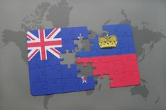 Puzzle with the national flag of new zealand and liechtenstein on a world map background Stock Photos