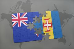 Puzzle with the national flag of new zealand and madeira on a world map background Royalty Free Stock Image