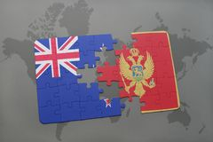 Puzzle with the national flag of new zealand and montenegro on a world map background Stock Photos